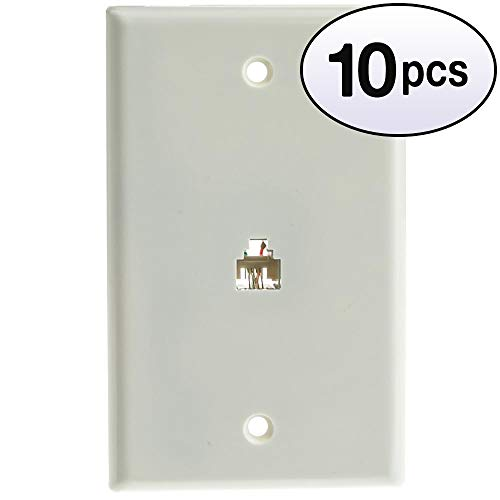 GOWOS (10 Pack) 2 Line Telephone Wall Plate, White, RJ11, 4 Conductor