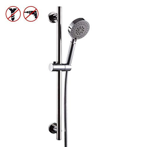 (KES 5-Function Hand Shower Head with Adjustable Slide Bar, Polished SUS304 Stainless Steel, F204+KP500)