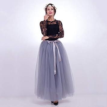 1a61e3f2d NVDKHXG Moda 7 Capas 100 cm Tulle Faldas de Boda Mujeres Falda Larga ...
