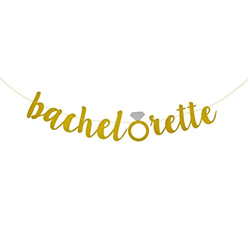 FECEDY Gold Glitter Alphabet Bachelorette Banner for Bride Show Engagement Party Decorations