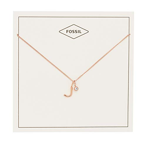 Fossil Rose Pendant (Fossil Women's Letter J Rose Gold-Tone Stainless Steel Necklace, One Size)