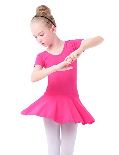 Ballet Dance Dress,Toddler Girls Child Cotton Ballet Dance Clothes Kids Gymnastics Leotard Training Dancewear Rose red(Short sleeve) L(3-4Y)