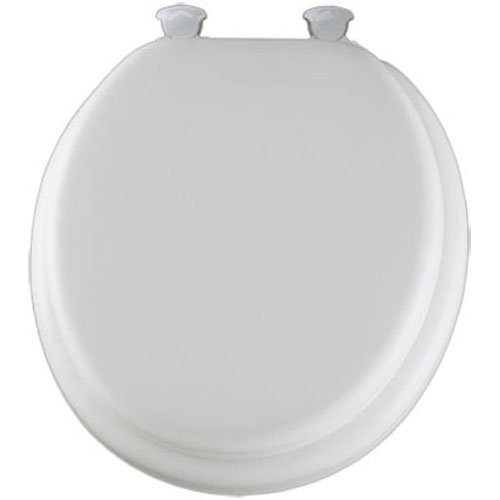 Mayfair Soft Toilet Seat with Molded Wood Core and Easy-Clean & Change Hinges, Round, White, 13EC 000