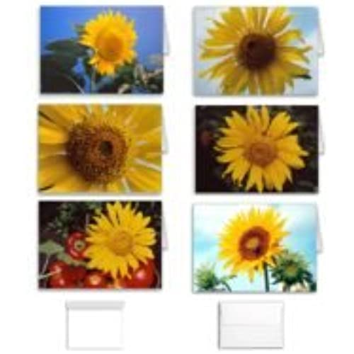 Sunflower Flower Note Cards: Blank Stationery Set of 12 (6 Assorted Designs) to Use for Birthday, Thank You or Sales
