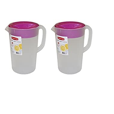 Rubbermaid 1 Gallon Classic Pitcher, Value Pack Of 2 Pitchers (Purple Lid)