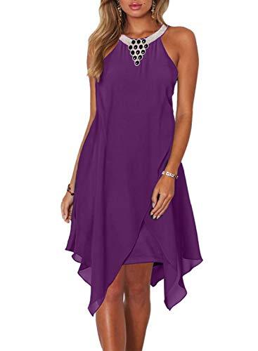 Dokotoo Womens Fashion Ladies Summer Overlay Embellished Halter Neck Chiffon Solid Sleeveless Ruffle Casual Flowy Mini Dress Purple ()