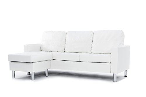 Modern Bonded Leather Sectional Sofa - Small Space Configurable Couch - White - Leather Sectional Sofa Couch