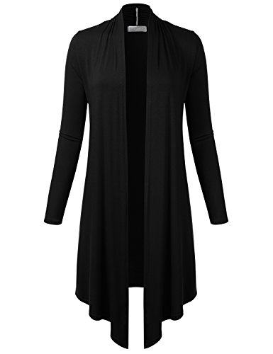 FLORIA Womens Long Sleeve Draped Open Front Knit Cardigan BLACK M (Inc Black Cardigan compare prices)