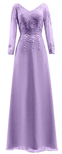 V Dress Bride Sleeves MACloth Long Neck Evening Women Lace of Gown The Mother Lavender wnC4Cqgxz