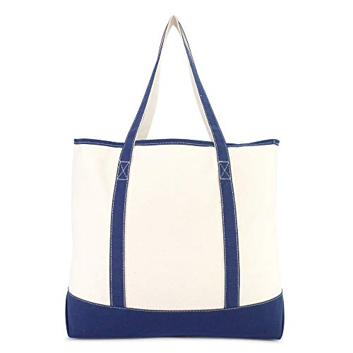DALIX 22'' Extra Large Shopping Tote Bag w Outer Pocket in Navy Blue and Natural by DALIX (Image #4)
