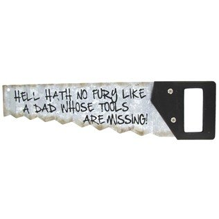 Vintage Style Wood with Metal Hand Saw Tin Sign Wall Mount Dad Tools MAN CAVE Father's Day Gift