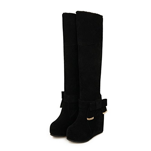 Agoolar Mujeres Closed Round Toe Tacones Altos Frost High-top Solid Botas Negro