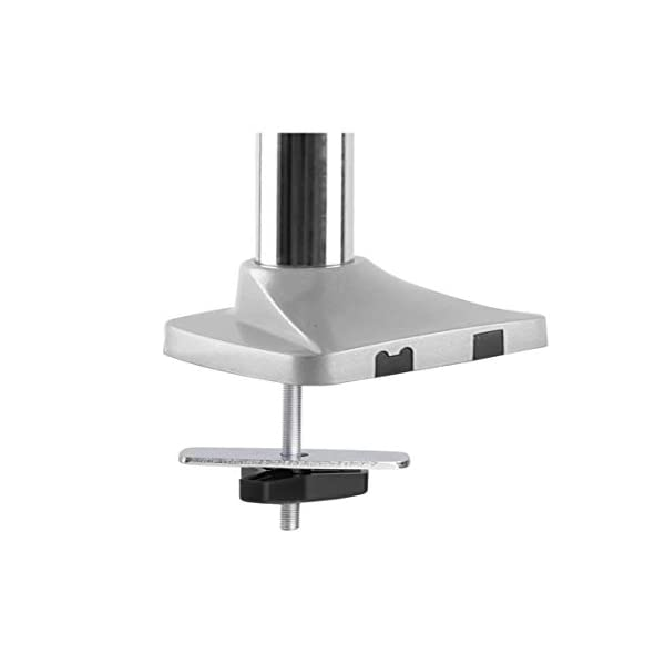 Rife Single Monitor Arm Mount Desk Height Adjustable Articulating Gas Spring Arm | Fits 19 21 24 27 29 30 32 Inch VESA Compatible Computer Screen C-Clamp and Grommet Base (Aluminium Finish Single Arm)