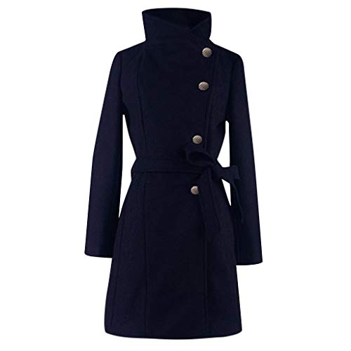 One Nice Womens Winter Lapel Fux Wool Coat Trench Jacket, Casual Long Sleeve Overcoat Outwear with Belt