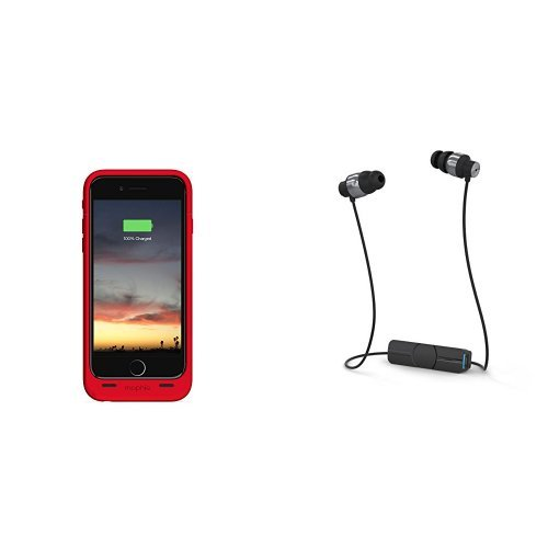 mophie juice pack air - Slim Protective Mobile Battery Pack Case for iPhone 6/6s - Red and iFrogz Audio - Impulse Wireless Bluetooth Universal Headphones - Black / Silver bundle by mophie