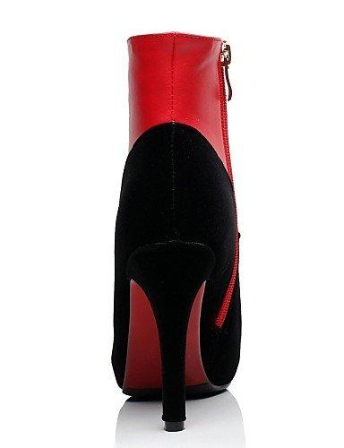 Uk4 Casual La Puntiagudos Red Mujer Vestido Vellón us6 Tacón Uk6 Stiletto Xzz Zapatos Cn39 Eu36 Eu39 De Semicuero us8 negro Black Cn36 A Botas Moda Plataforma zxwza7SY