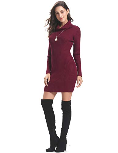 Women Knit Red Long Bodycon Turtleneck Dress Wine Stretchable Sleeve Elasticity Abollria Sweater fdFaRF