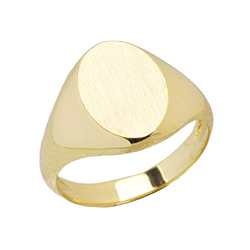 Men's Bold 10k Yellow Gold Engravable Oval Top Signet Ring (Size 10)