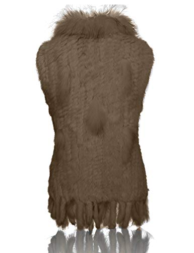 Punto Cuello Elegante Chaleco Con Piel 100 Conejo Mapache Camello Suave Heizzi De w4qRTgFS