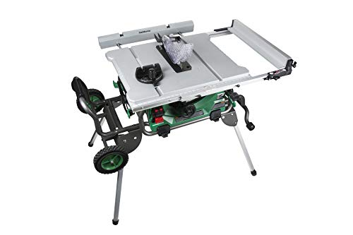 "Metabo HPT C10RJ 10-Inch Jobsite Table Saw, Class-Leading 35-Inch Rip Capacity, Fold & Roll Stand, 8 x 13/16"" Dado Capacity, Portable and Lightweight, 2-Year Warranty"