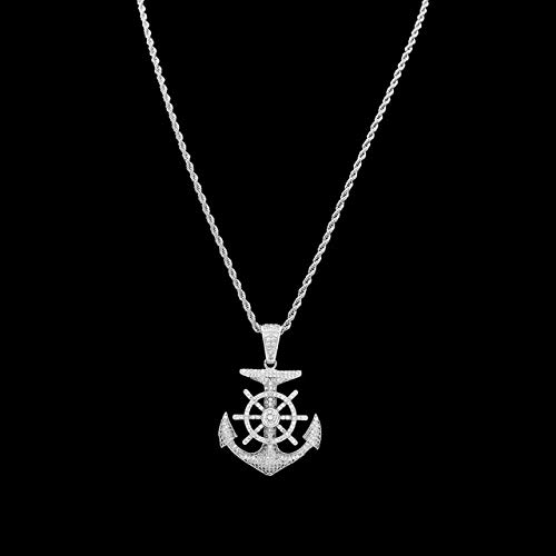 Bling King Custom Anchor Cubic Zircon Pendant Necklace | Full Iced Out Cubic Zircon Gold Sliver Necklace (Silver)