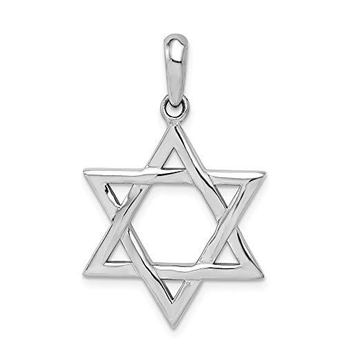 14k White Gold Jewish Jewelry Star Of David Pendant Charm Necklace Religious Judaica Fine Jewelry Gifts For Women For Her (Pendant Religious Jewish White Gold)