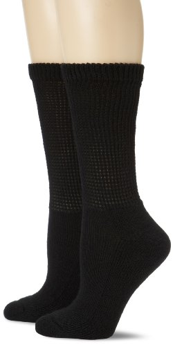 Dr. Scholl's Women's 2 Pack Diabetes Circulatory Comfort Crew Socks,  Black, Shoe: 4-10