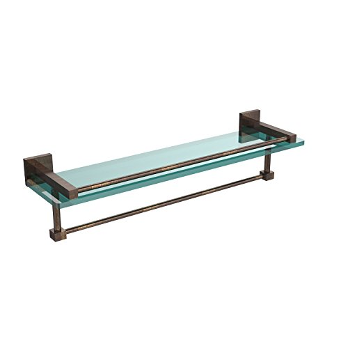 Allied Brass MT-1-22TB-GAL-VB Montero Collection 22 Inch Gallery Glass Shelf with Towel Bar Venetian Bronze
