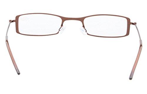 Pcs Marrón Half lectores de estilo Marco de Eyekepper 25 Sol acero 3 eye 2 inoxidable Gafas lectura wpZfPqIaP