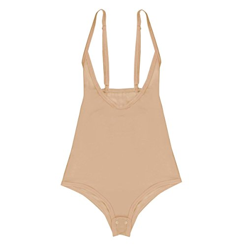 Agoky Womens Chest Support Mesh Sheer See Through Bodysuit Leotard Thongs Underwear Nude One Size