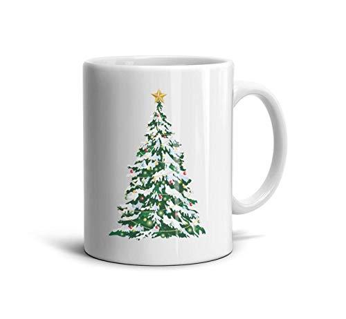 Godfer Arabe Funny Coffee Mugs Big Green Christmas Tree Novelty Ceramic TeaMugs Shatterproof Cups Festival Gift White