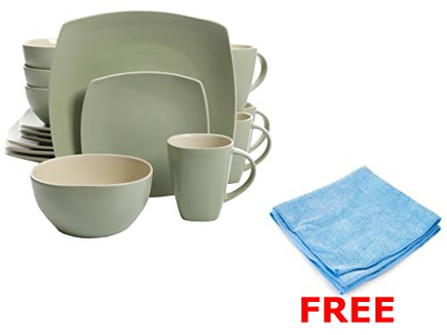 Gibson Elite Soho Lounge 16-Piece Stoneware - Dinnerware Set, Service of 4, Pastel Green Color + Free Multipurpose Cleaning Towelettes