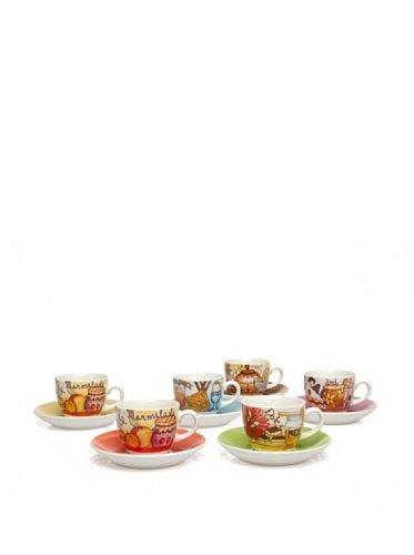 Tognana IRIS 6 CC 100 Coffee Cup and Saucer Set, Breakfast Pattern, 30 x 24.5 x 7 cm, ()