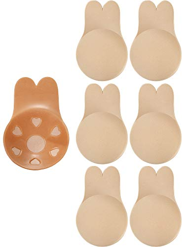 3 Pairs Women Lift Nipple Breast Covers Adhesive Strapless Pasties Rabbit Ear Shape Backless Bras (Beige, L)