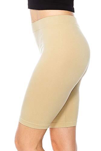 (KAYLYN KAYDEN KLKD Women's C044 Cotton Stretch Workout Layering Jersey Bike Shorts Legggings Teamwear Under Skirts,Khaki, One Size)