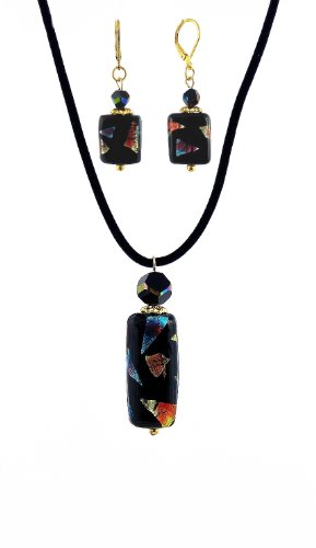 Fused Glass Pendant Jewelry (Fused Glass Pendant AND matching Earrings by A-Ha (N528))