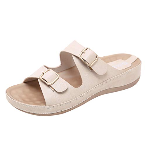 Mysky Fashion Women Summer Bohemian Belt Buckle Beach Shoes Ladies Simple Pure Color Open Toe Soft Slippers