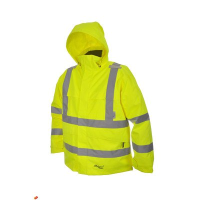 - Professional Journeyman 300D Trilobal Rip Stop Safety Coat with Hood Color: Fluorescent Green, Size: XXXX-Large