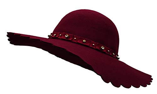 - Bienvenu Women's Wide Brim Felt Bowler Fedora Floopy Wool Hat with Rhinestone,Style2_Red