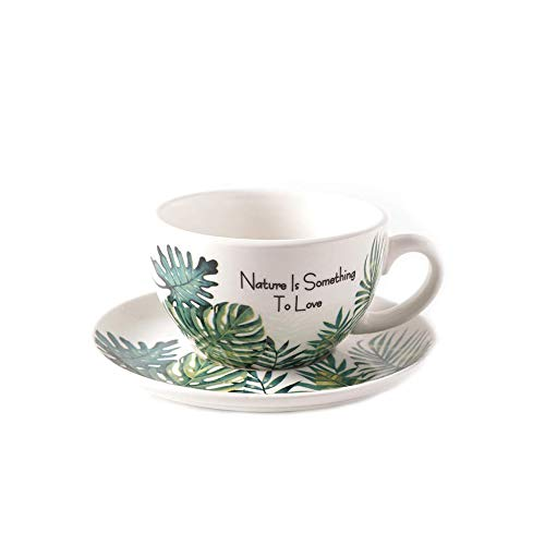 Coffeezone Porcelain Cup and Saucer in Monstera Leaf Pattern for Cappuccino Barista Latte Art (8.5 OZ)