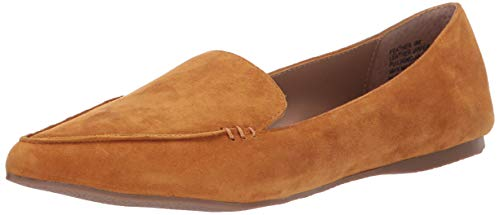 Steve Madden Women's Feather Loafer Flat, Mustard Suede, 8 M US