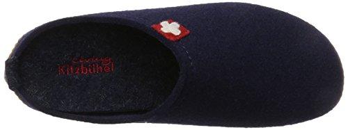 Living Kitzbühel Pantoffel Schweizer Kreuz mit Fussbett, Herren Pantoffeln Blau (Nachtblau 590)