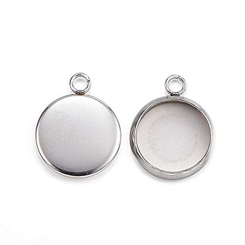 Kissitty 100Pcs Stainless Steel Blank Bezel Cameo Flat Round Tray Pendant Cabochon Settings 10mm for DIY Photo Charm Jewelry Craft Making