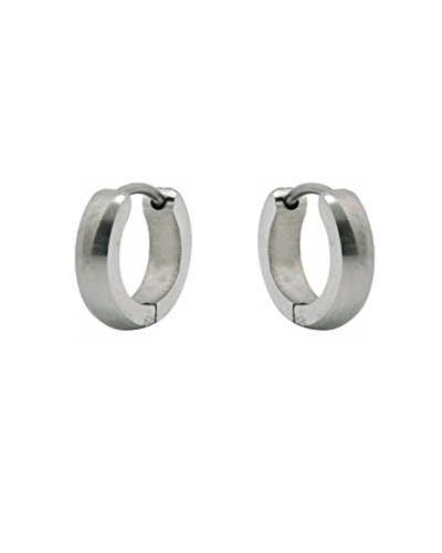 Small Stainless Steel Silver Tone Unisex Huggie Hoop Earrings 10mm