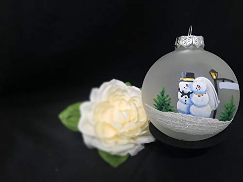Wedding Ornament for your First Christmas Married Hand painted on Frosted glass ornament, Christmas, Engagement, wedding gift, Personalized with your wedding date and/or ()