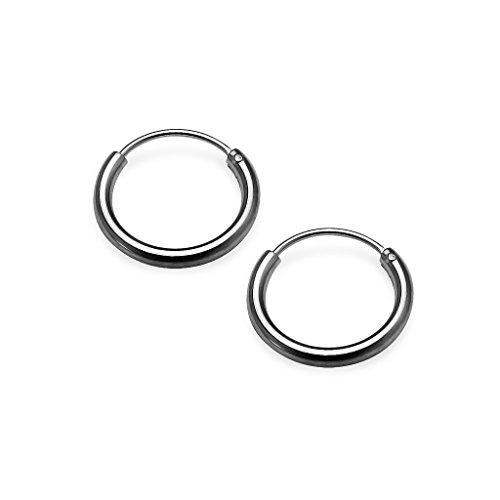 Sterling Silver Small Polished Endless Hoop Earrings 1.2mm x 10mm Black Flashed Rhodium (Black Silver Hoop)