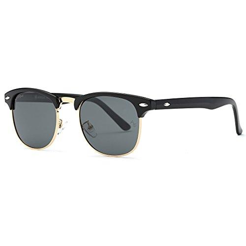 AEVOGUE Polarized Sunglasses Semi-Rimless Frame Brand Designer Classic AE0369 (Black, ()