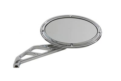 Motorcycle Oval Mirror Chrome with Slotted Stem