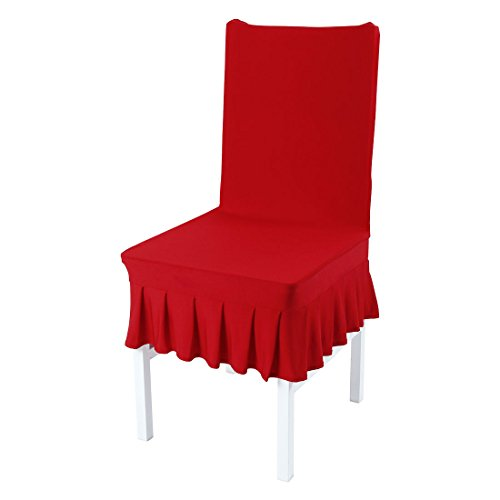 uxcell Stretch Spandex Short Dining Room Chair Covers Ruffled Skirt Slipcovers Multi-Color Chair Seat Covers - Slipcover Dining Chair Ruffled