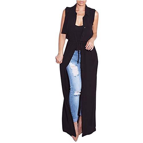 abajo abotona las largo frente abierto sólido S Color mujeres ZFFde de Outwear del chaleco sin Invierno tamaño Chaleco mangas Black 1xnqf80w